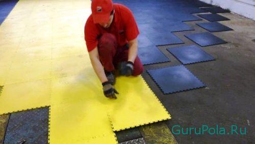 Монтаж резиновой плитки на пол