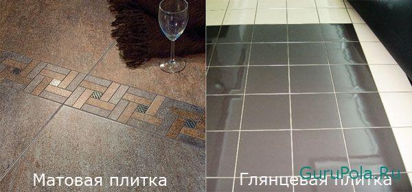 Глянцевая и матовая плитка на кухню
