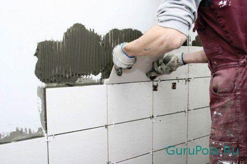 Укладка испанской плитки на стену